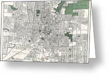 San Antonio Texas Hand Drawn Map  1909 Greeting Card