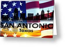 San Antonio Tx Patriotic Large Cityscape Greeting Card