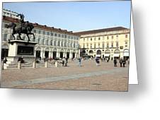 San Carlo Square In Turin Greeting Card