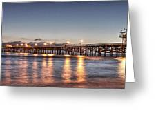 San Clemente Pier At Night Greeting Card by Richard Cheski