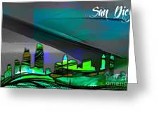 San Diego California Skyline Watercolor Greeting Card