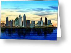 San Diego Skyline And Coronado At Dusk U.s.a Greeting Card by John YATO
