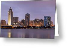 San Diego Skyline At Dusk Panoramic Greeting Card
