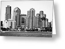 San Diego Skyline In Black And White Greeting Card
