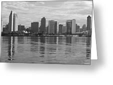 San Diego Skyline Sunrise Monochrome Greeting Card