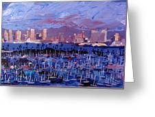 San Diego Skyline With Marina At Dusk Greeting Card