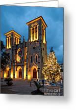 San Fernando Cathedral And Christmas Tree Main Plaza - San Antonio Texas Greeting Card