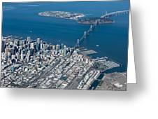 San Francisco Bay Bridge Aerial Photograph Greeting Card
