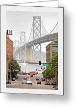 San Francisco Bay Bridge And Bay Quackers Greeting Card