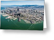 San Francisco Bay Piers Aloft Greeting Card