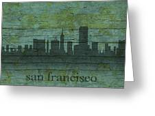 San Francisco California Skyline Silhouette Distressed On Worn Peeling Wood Greeting Card