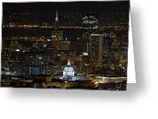 San Francisco Cityscape With City Hall At Night Greeting Card