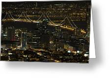 San Francisco Cityscape With Oakland Bay Bridge At Night Greeting Card
