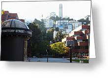 San Francisco Coit Tower At Levis Plaza 5d26212 Greeting Card by Wingsdomain Art and Photography