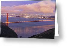 San Francisco Golden Gate Bridge At Dusk Greeting Card
