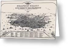San Francisco Graphic Map 1875 Greeting Card