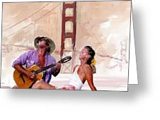 San Francisco Guitar Man Greeting Card