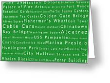 San Francisco In Words Green Greeting Card