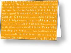 San Francisco In Words Orange Greeting Card