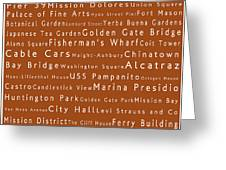 San Francisco In Words Toffee Greeting Card