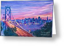San Francisco Nights Greeting Card by David Lloyd Glover