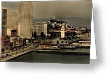 San Francisco Pier From The Bridge Greeting Card