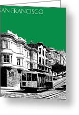 San Francisco Skyline Cable Car 2 - Forest Green Greeting Card