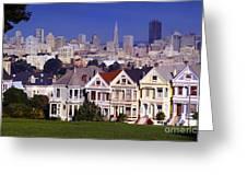 San Francisco Skyline From Alamo Square Greeting Card