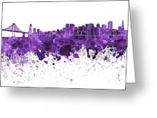 San Francisco Skyline In Purple Watercolor On White Background Greeting Card