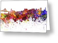San Francisco Skyline In Watercolor On White Background Greeting Card