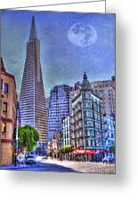 San Francisco Transamerica Pyramid And Columbus Tower View From North Beach Greeting Card