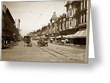 94-095-0001 Early Knox Automobile First Street San Jose California Circa 1905 Greeting Card