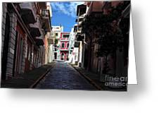 San Juan Alley Greeting Card by John Rizzuto