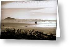 Sand And Silhouettes Greeting Card by Micki Findlay