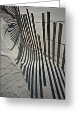 Sand Fence During Winter On The Beach Greeting Card