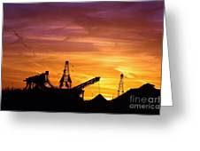 Sand Pit Silhouette  Sunset With Red And Yellow Sky Greeting Card