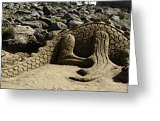 Sand Sculpture Dragon With Flaming Nostrils Greeting Card