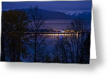 131112a-110 Sandpoint After Dusk Greeting Card
