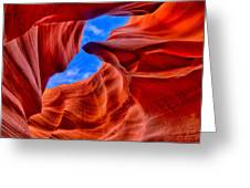 Sandstone Curves In Antelope Canyon Greeting Card