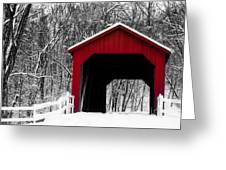 Sandy Creek Cover Bridge With A Touch Of Red Greeting Card