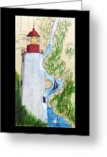 Sandy Hook Lighthouse Nj Chart Map Art Peek Greeting Card
