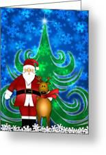 Santa And Reindeer In Winter Snow Scene Greeting Card