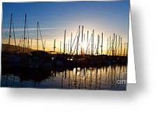 Santa Barbara Harbor With Yachts Boats At Sunrise In Silhouette Greeting Card