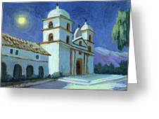 Santa Barbara Mission Moonlight Greeting Card
