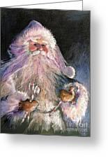 Santa Claus - Sweet Treats At Fireside Greeting Card by Shelley Schoenherr