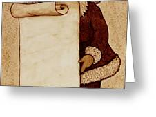 Santa Claus Wishlist Original Coffee Painting Greeting Card