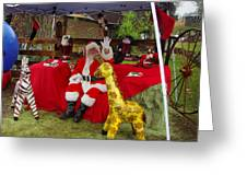 Santa Clausewith The Animals Greeting Card