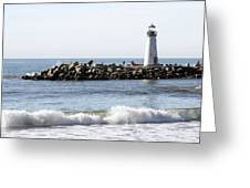Santa Cruz Lighthouse Wave Wide Greeting Card by Barbara Snyder
