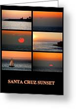 Santa Cruz Sunset  Greeting Card by AJ  Schibig