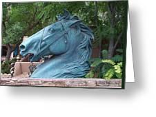 Santa Fe Big Blue Horse Greeting Card